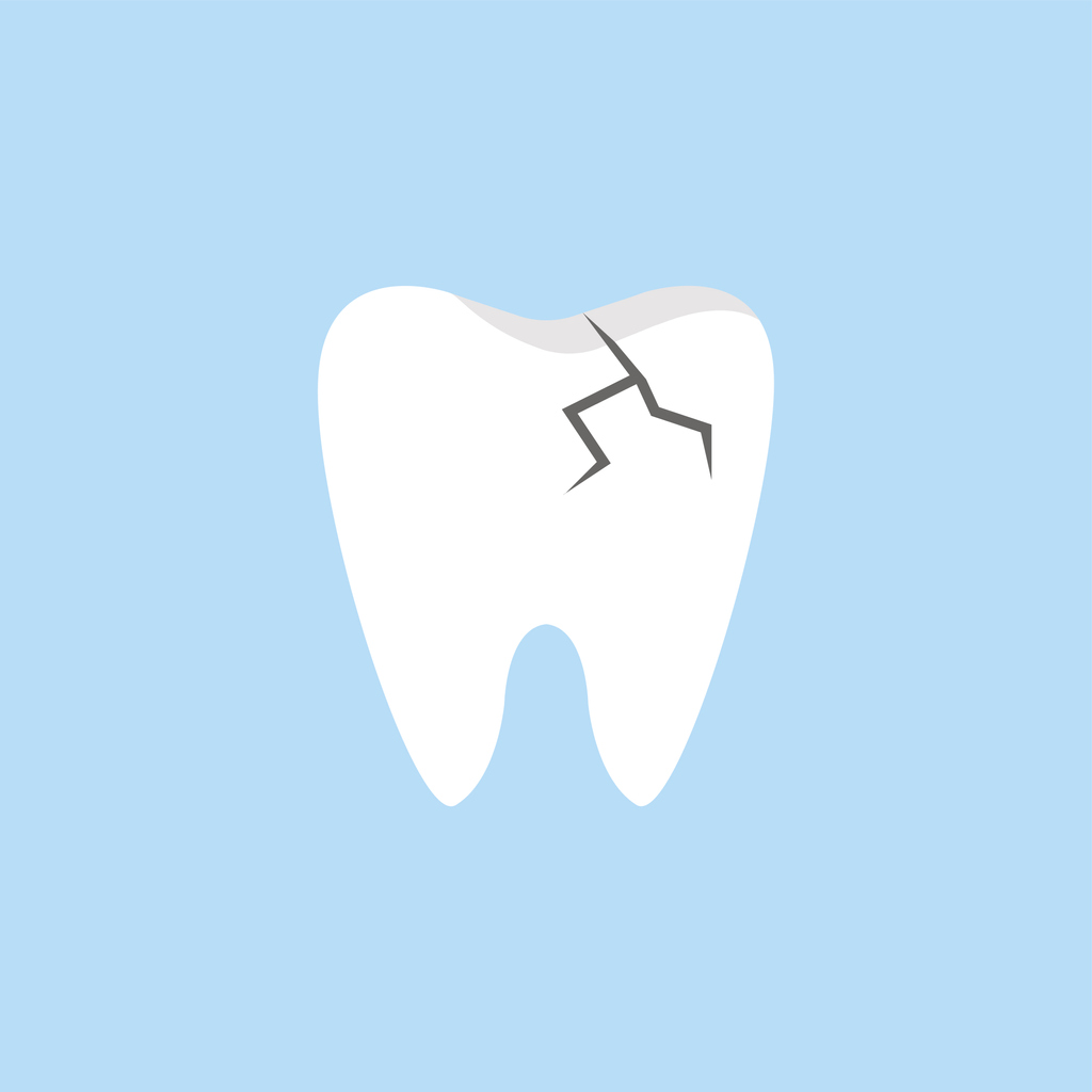 illustration of a cracked tooth on blue background.